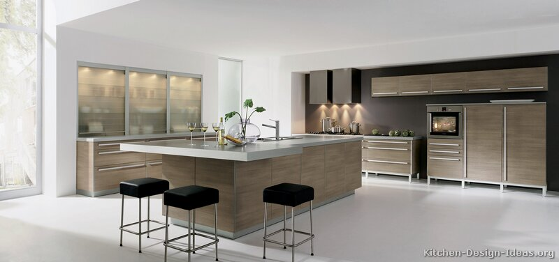 kitchen-cabinets-modern-light-wood-026-A131b-white-countertop-island-seating-gray-walls